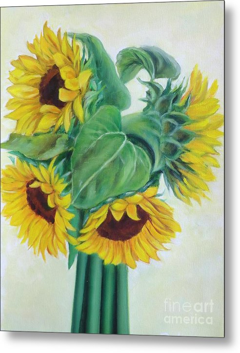 Sunflower Metal Print featuring the painting Sunflower circle by Ziba Bastani