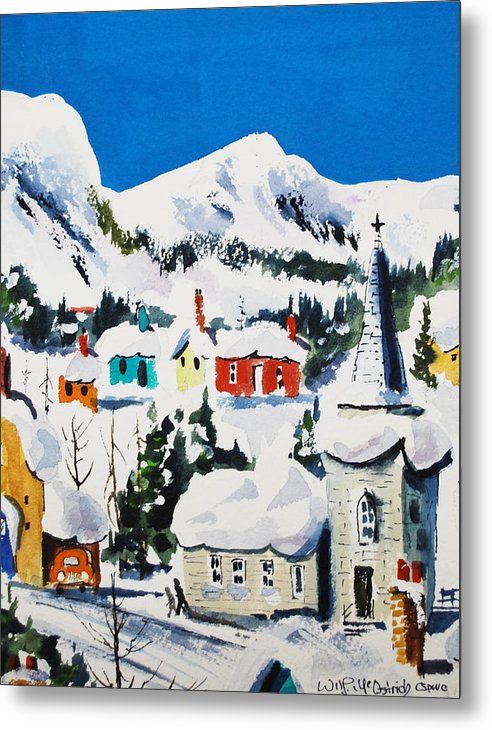 Snow Small Town Winter Ice Mountains Skiing Metal Print featuring the painting Ste. Saveur Quebec by Wilfred McOstrich
