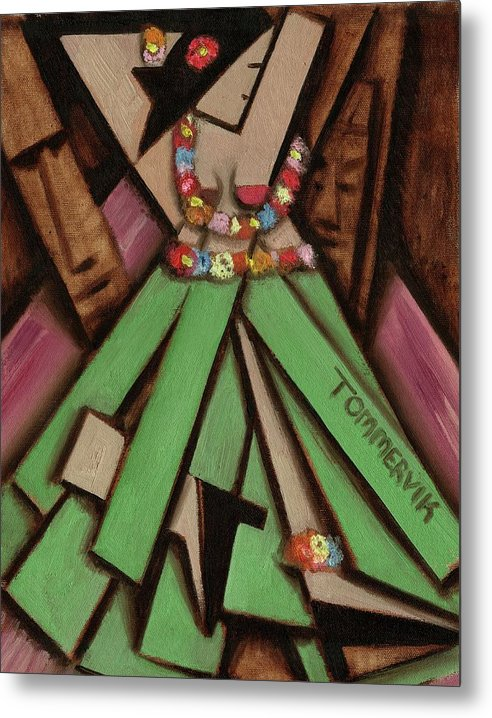Hawaii Metal Print featuring the painting Tiki Wall Art - Tommervik Dancing Tiki Hawaiian Hula Girl by Tommervik