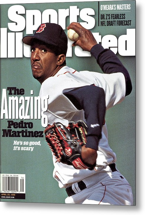 Magazine Cover Metal Print featuring the photograph Boston Red Sox Pedro Martinez... Sports Illustrated Cover by Sports Illustrated