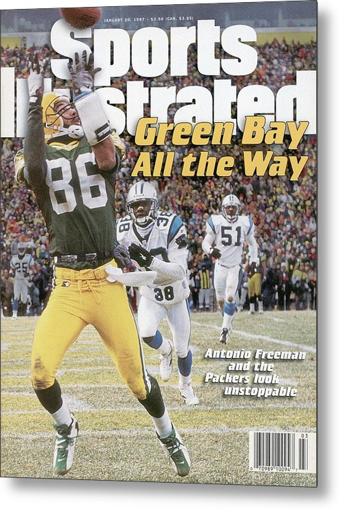 Magazine Cover Metal Print featuring the photograph Green Bay Packers Antonio Freeman, 1997 Nfc Championship Sports Illustrated Cover by Sports Illustrated