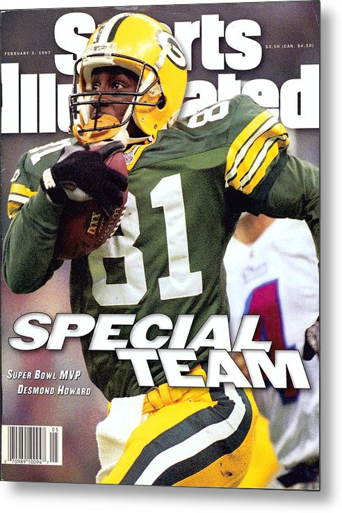New England Patriots Metal Print featuring the photograph Green Bay Packers Desmond Howard, Super Bowl Xxxi Sports Illustrated Cover by Sports Illustrated