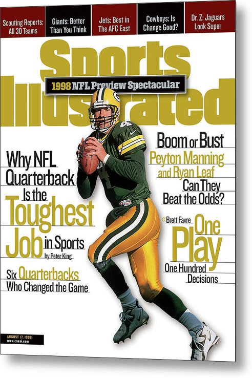 Green Bay Metal Print featuring the photograph Green Bay Packers Qb Brett Favre, 1998 Nfl Football Preview Sports Illustrated Cover by Sports Illustrated