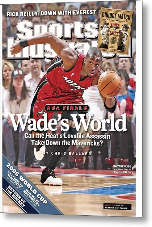 Playoffs Metal Print featuring the photograph Miami Heat Dwyane Wade, 2006 Nba Eastern Conference Finals Sports Illustrated Cover by Sports Illustrated