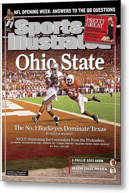 Magazine Cover Metal Print featuring the photograph Ohio State Ted Ginn Jr... Sports Illustrated Cover by Sports Illustrated