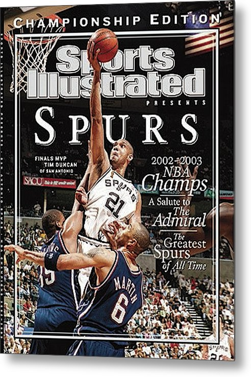 Kenyon Martin Metal Print featuring the photograph San Antonio Spurs Tim Duncan, 2003 Nba Finals Sports Illustrated Cover by Sports Illustrated
