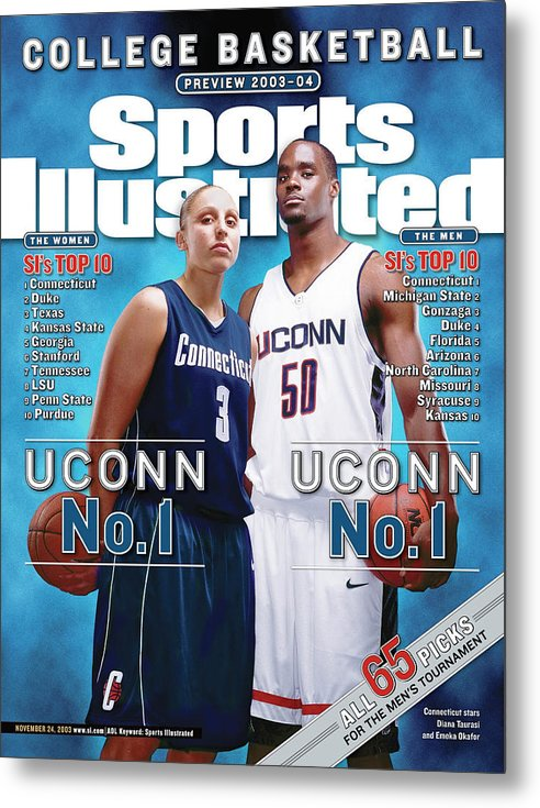 Magazine Cover Metal Print featuring the photograph University Of Connecticut Diana Taurasi And Emeka Okafor Sports Illustrated Cover by Sports Illustrated