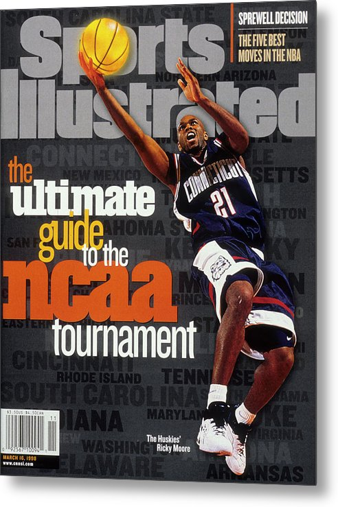 Sports Illustrated Metal Print featuring the photograph University Of Connecticut Ricky Moore, 1997 Ncaa Tournament Sports Illustrated Cover by Sports Illustrated