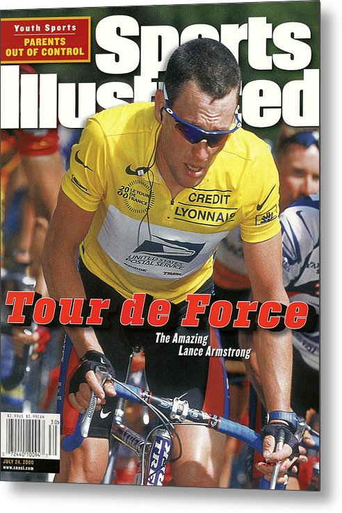 Magazine Cover Metal Print featuring the photograph Us Postal Service Team Lance Armstrong, 2000 Tour De France Sports Illustrated Cover by Sports Illustrated