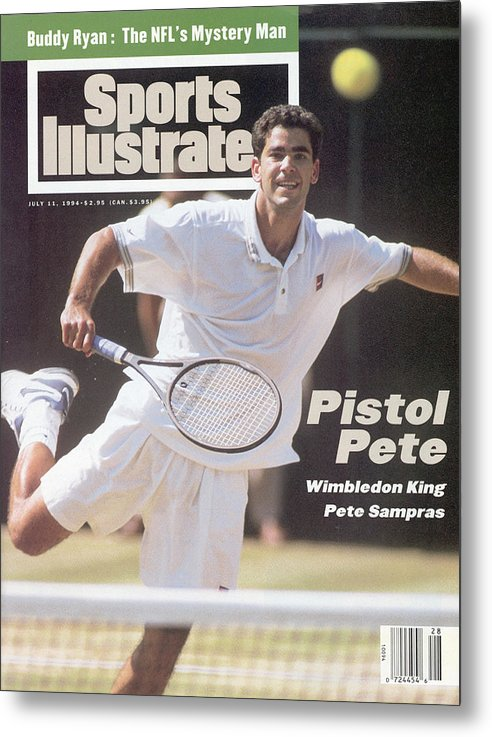 Tennis Metal Print featuring the photograph Usa Pete Sampras, 1994 Wimbledon Sports Illustrated Cover by Sports Illustrated