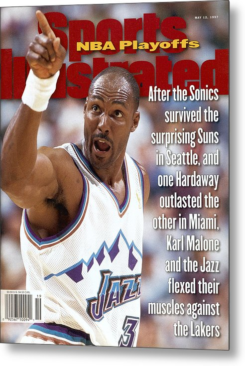 Playoffs Metal Print featuring the photograph Utah Jazz Karl Malone, 1997 Nba Western Conference Sports Illustrated Cover by Sports Illustrated