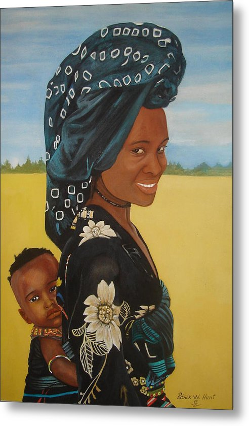 African Mother And Child Metal Print featuring the painting Mother And Child by Patrick Hunt
