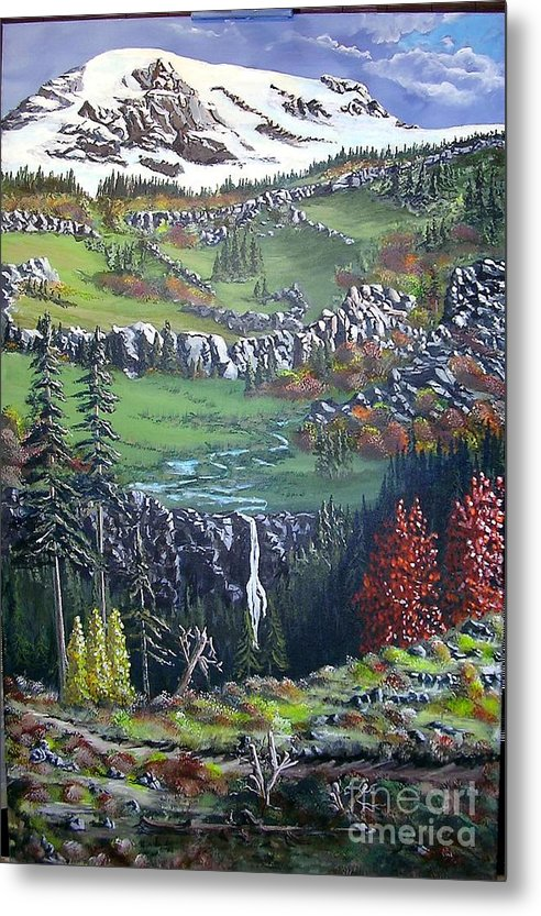 Landscape Metal Print featuring the painting Rainier in fall by John Wise