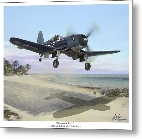 Airplane Metal Print featuring the painting Corsair Takeoff Vf-17 Jolly Rogers by Mark Karvon
