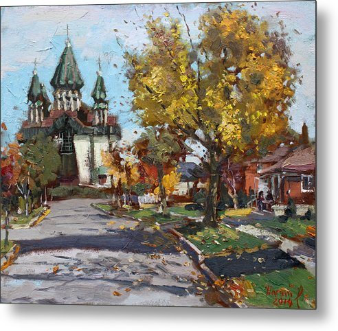 St. Marys Metal Print featuring the painting St. Marys Ukrainian Catholic Church by Ylli Haruni