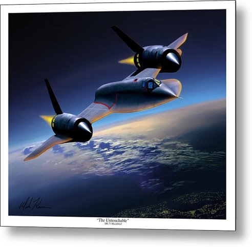 Airplane Metal Print featuring the painting The Untouchable Sr-71 Blackbird by Mark Karvon