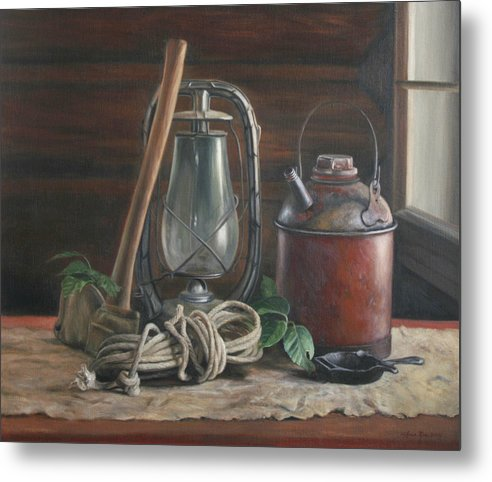 Rustic Metal Print featuring the painting Cabin Still Life by Anna Rose Bain