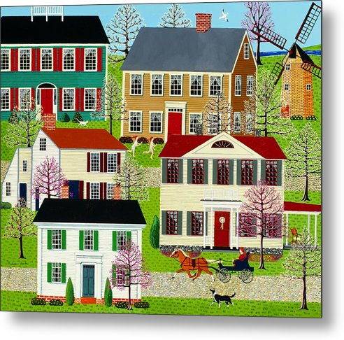 Folk Art Metal Print featuring the painting Racing To Windmill Point by Susan Henke