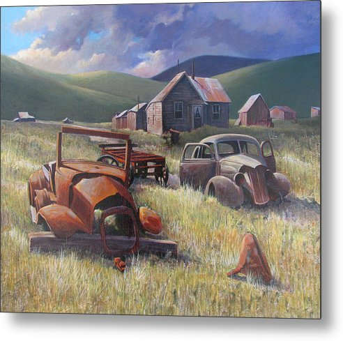 Old Cars Mixed Media Metal Print featuring the painting Eternal Race by Don Trout