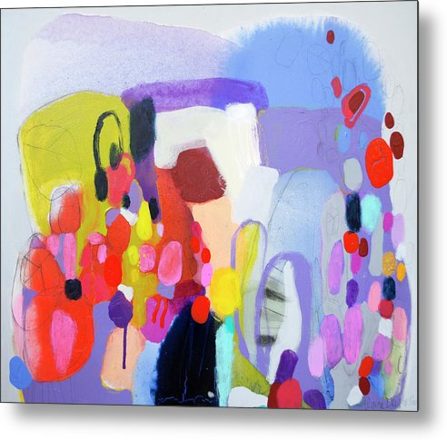 Abstract Metal Print featuring the painting On My Mind by Claire Desjardins