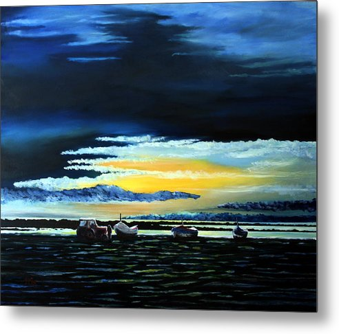 Seascape Metal Print featuring the painting Sunrise Over Boulmer Beach by John Cox