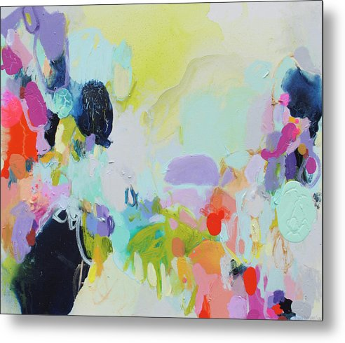 Abstract Metal Print featuring the painting Chartreuse Stop by Claire Desjardins