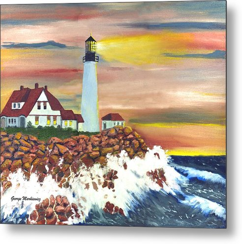 Lighthouse In The Begging Of A Storm Metal Print featuring the print Guiding Light by George Markiewicz