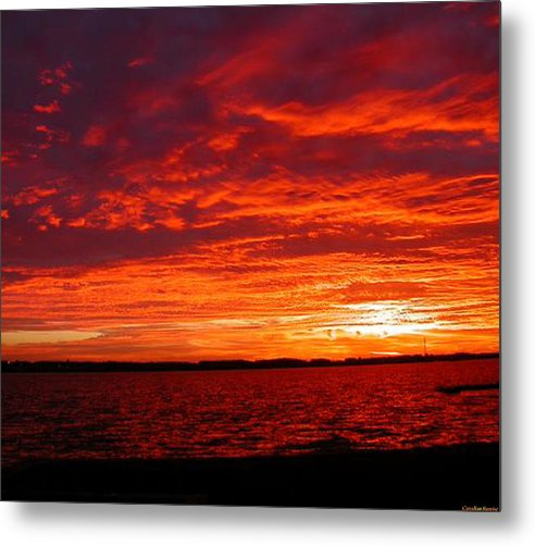 Canadian Metal Print featuring the painting Canadian Sunset by Lady Red
