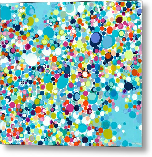 Abstract Metal Print featuring the painting In The Meantime by Claire Desjardins
