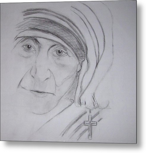 mother Theresa Metal Print featuring the drawing Mother Theresa by Valerie Wolf