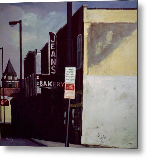 Landscape Metal Print featuring the painting Jean's Bakery by William Brody