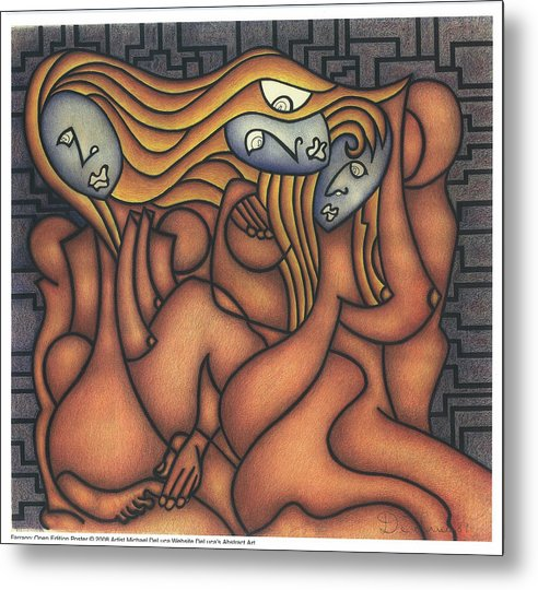 Three Women Metal Print featuring the drawing Farrago by Michael Deluca