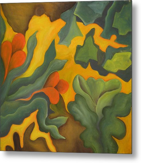 Abstract Yellow Orange And Green Metal Print featuring the painting Primal Spring by Ani Magai