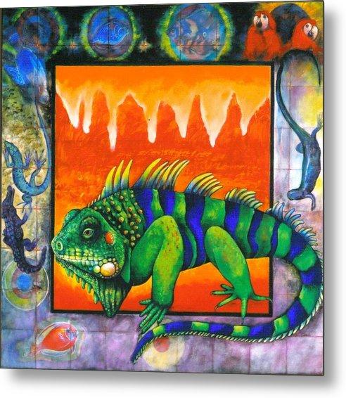 Iguana Metal Print featuring the painting Iguana by Christine McGinnis
