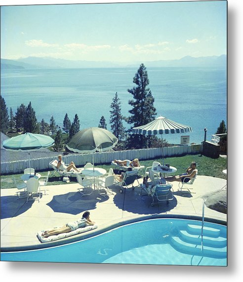 People Metal Print featuring the photograph Relaxing At Lake Tahoe by Slim Aarons