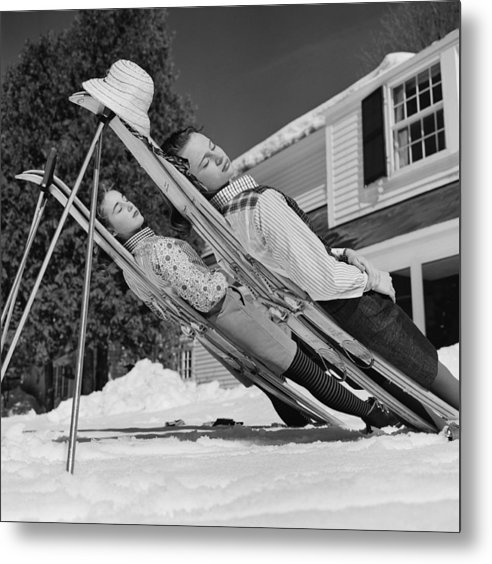 People Metal Print featuring the photograph New England Skiing by Slim Aarons