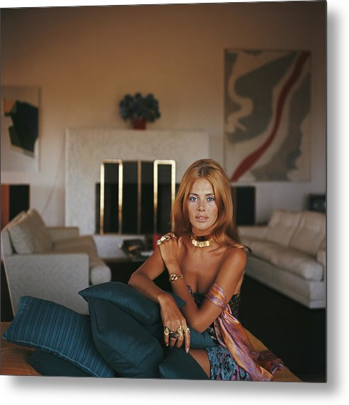 Living Room Metal Print featuring the photograph Britt Ekland by Slim Aarons
