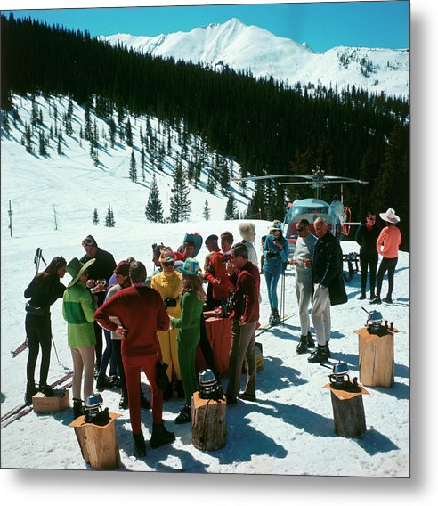 Skiing Metal Print featuring the photograph Snowmass Picnic by Slim Aarons