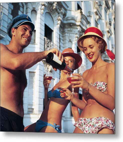 1950-1959 Metal Print featuring the photograph Top Up by Slim Aarons