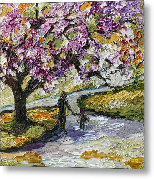 Trees Metal Print featuring the painting Cherry Blossom Tree Walk In The Park by Ginette Callaway