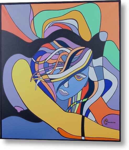 Painting Metal Print featuring the painting Sour Blue by Chameleon Amour