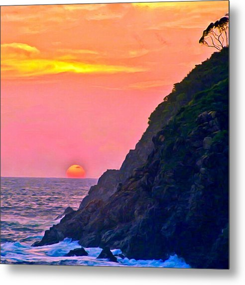 Beach Metal Print featuring the painting Pacific Sunset by Bob and Nadine Johnston