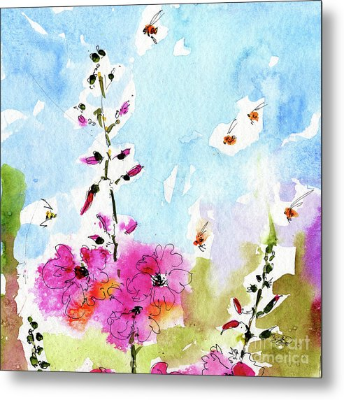 Decorative Metal Print featuring the painting Pink Lavatera Floral Painting 1 by Ginette Callaway