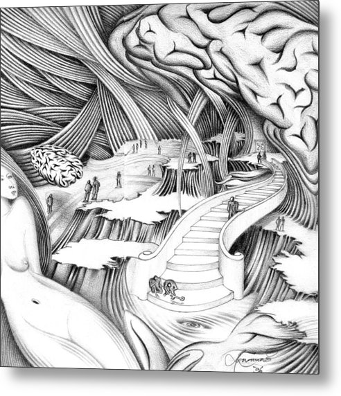 Surrealism Metal Print featuring the drawing Untitled by Aziz Awang