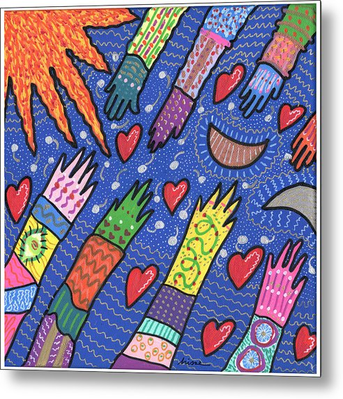 Bright Metal Print featuring the painting Community by Sharon Nishihara
