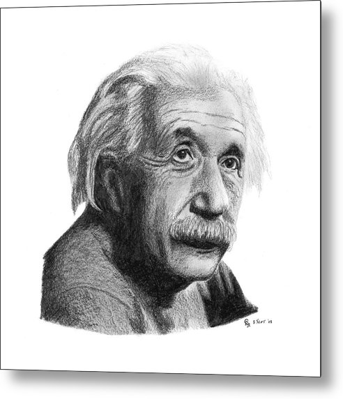 Einstein Metal Print featuring the drawing Einstein by Charles Vogan