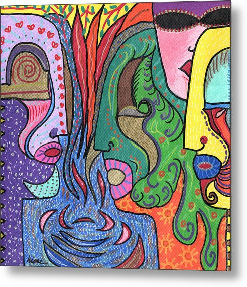 Colorful Metal Print featuring the painting Levels by Sharon Nishihara