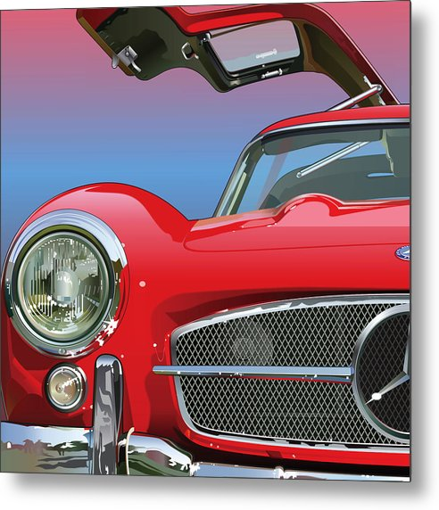 Automotive Art Metal Print featuring the drawing Mercedes 300 Sl Gullwing Detail by Alain Jamar