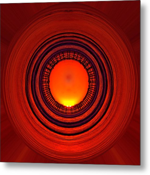 Abstract Metal Print featuring the photograph Pacific Beach Pier Sunset - Abstract by Peter Tellone