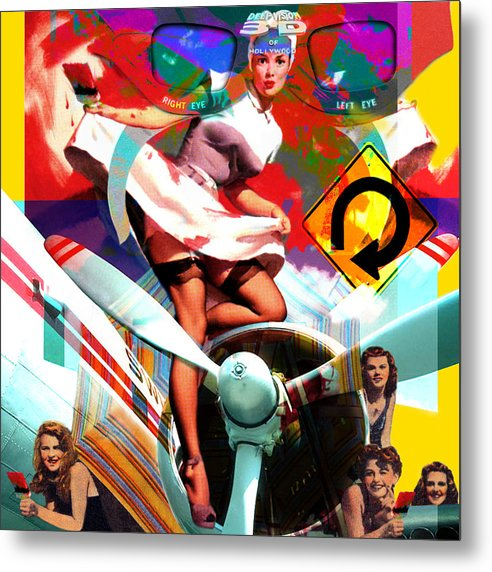 Girls Metal Print featuring the painting Paint Brush Girls by Robert Anderson